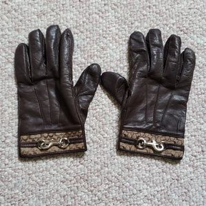 "Coach Cashmere Lined 8"" Leather Gloves"
